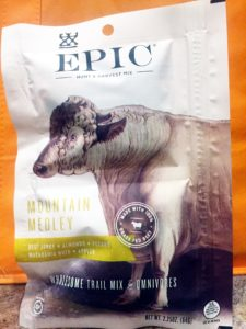 Epic Mountain Medley Mix, almonds, macadamia nuts, beef jerky, apples