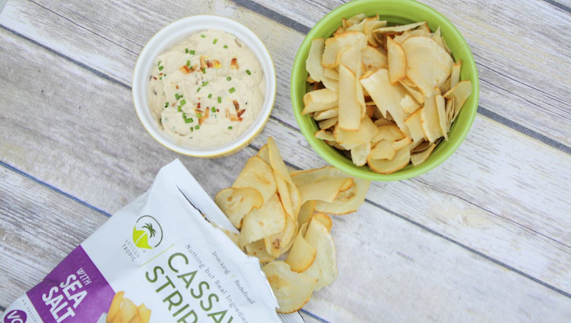 Paleo Onion Dip with Bacon, Cassava Strips, paleo