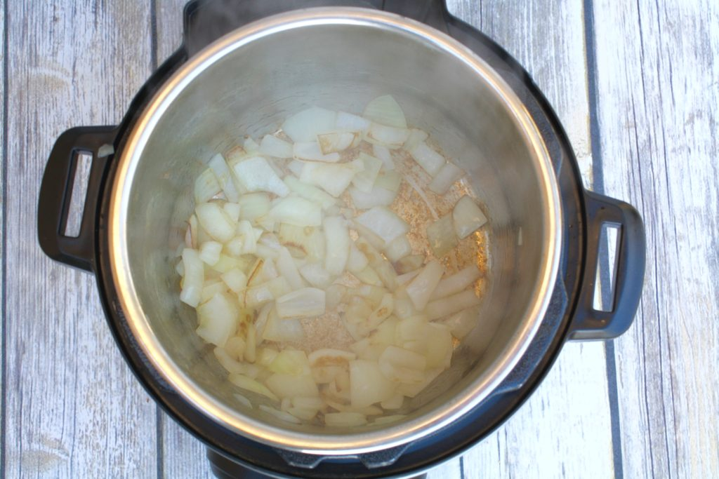 Onions Sauteeing for Butternut Squash Soup